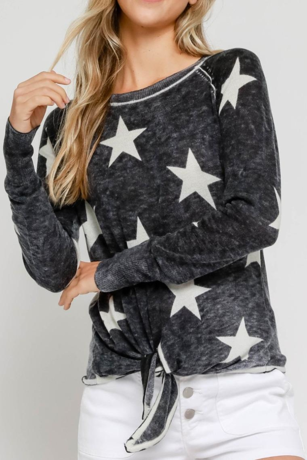 Olivaceous Burnout Star Sweater - Main Image