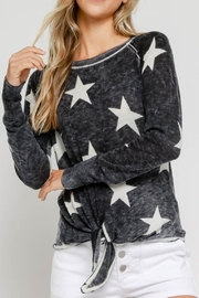 Olivaceous Burnout Star Sweater - Front cropped
