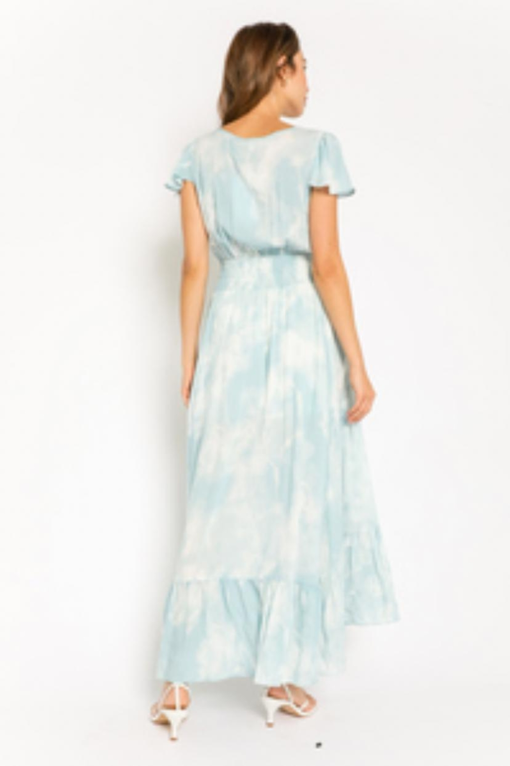 Olivaceous Button-Down Tie-Dye Dress - Front Full Image