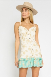 Olivaceous Buttoned Floral Dress - Product Mini Image