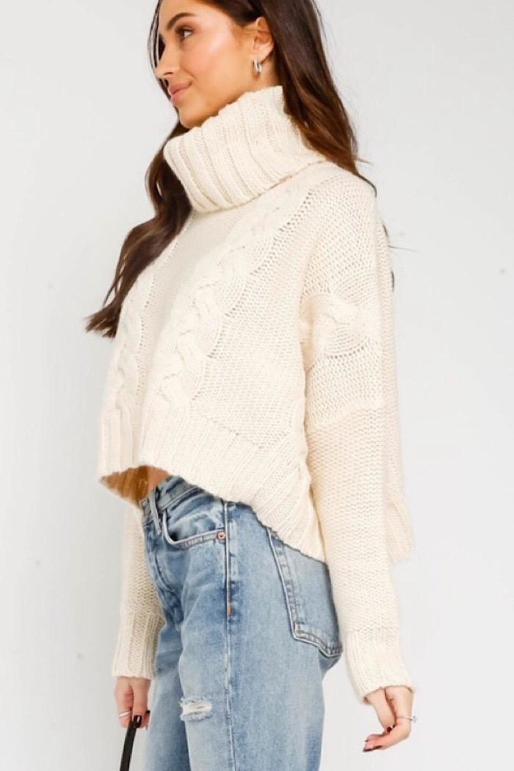 Olivaceous Cable Knit Turtleneck Sweater - Side Cropped Image