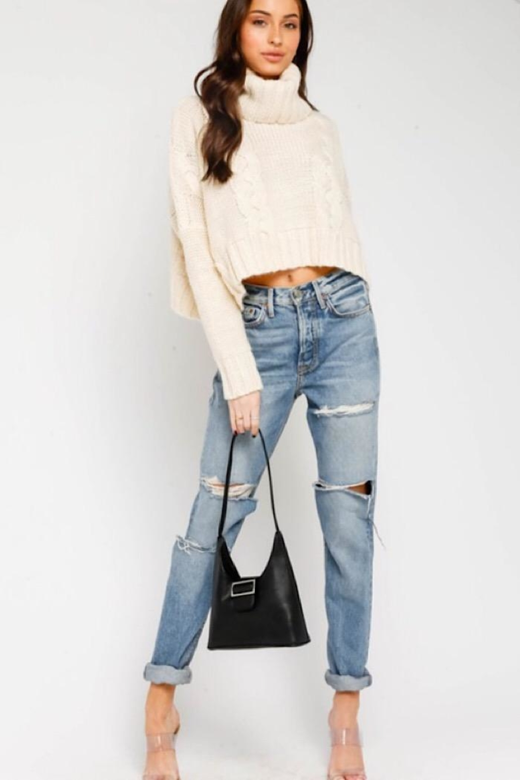 Olivaceous Cable Knit Turtleneck Sweater - Back Cropped Image