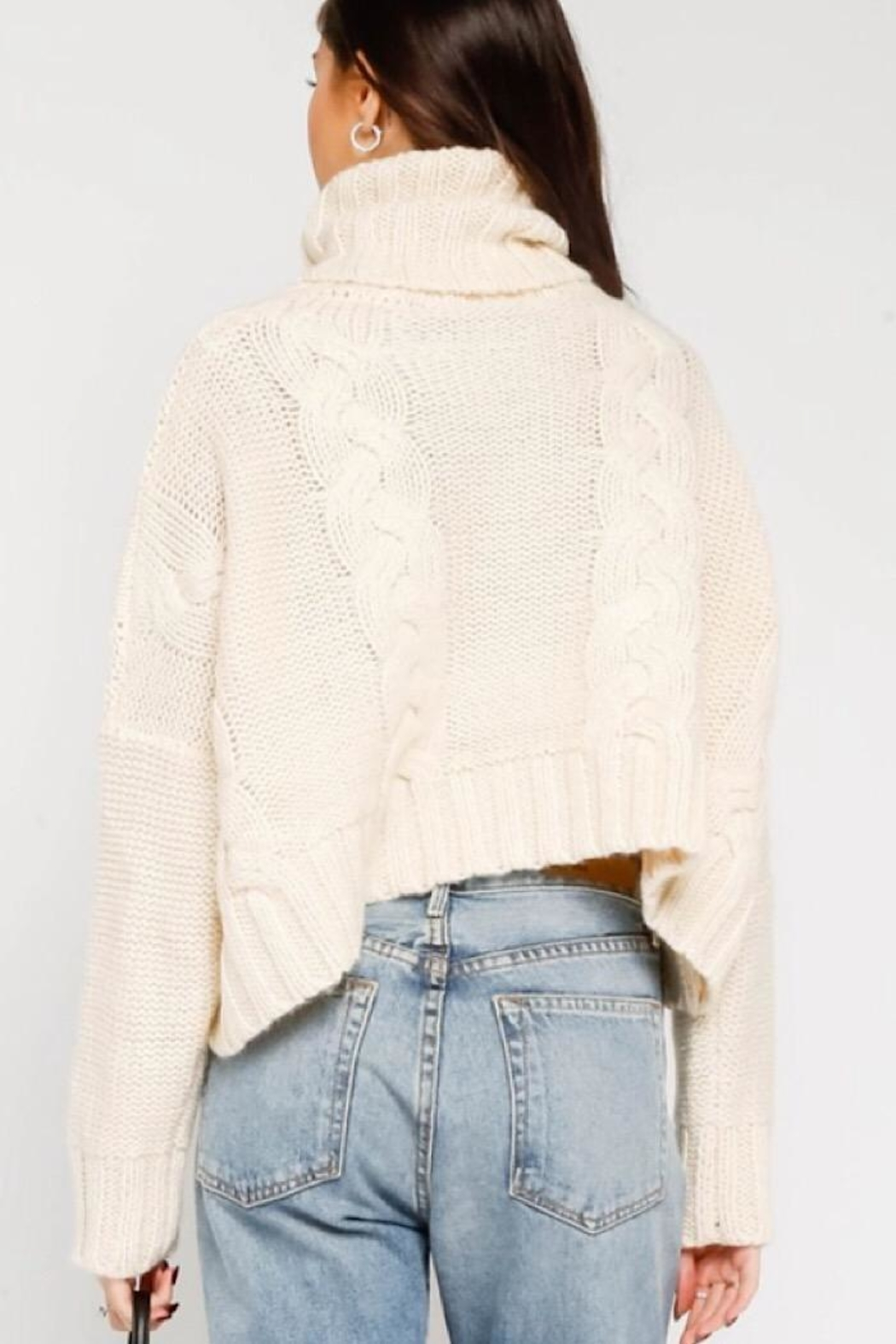 Olivaceous Cable Knit Turtleneck Sweater - Front Full Image