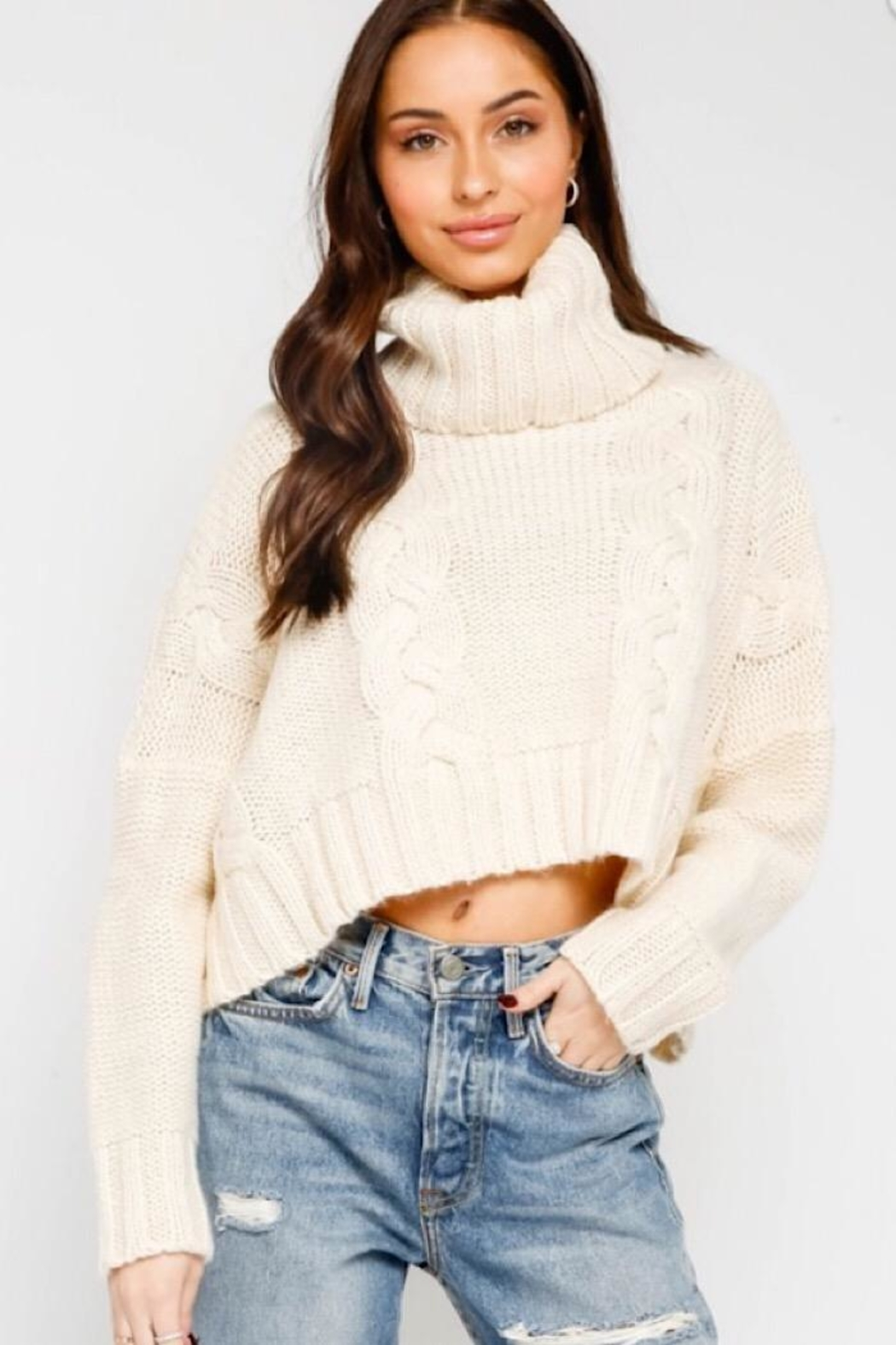 Olivaceous Cable Knit Turtleneck Sweater - Main Image