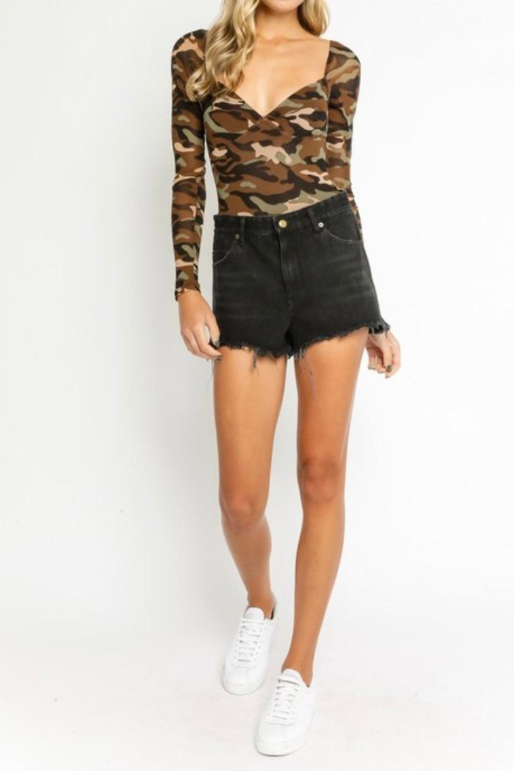 Olivaceous Camouflage Bodysuit - Side Cropped Image