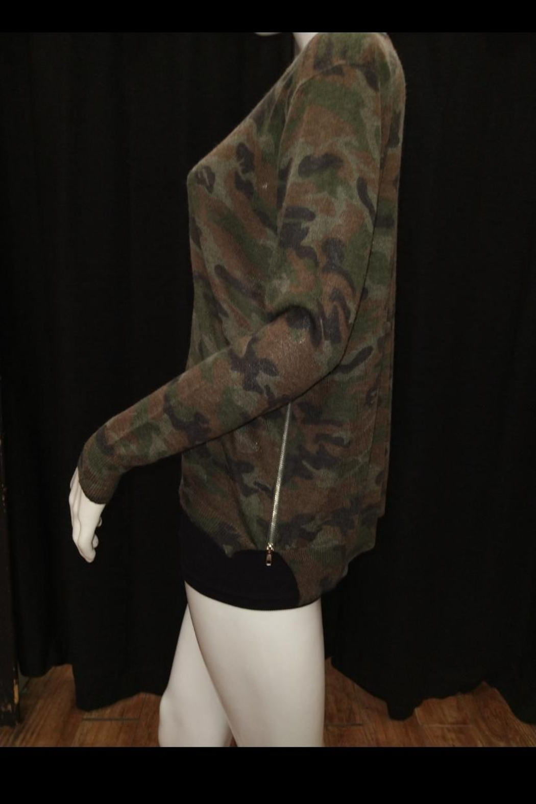 Olivaceous Camouflage Sweater Top - Front Full Image