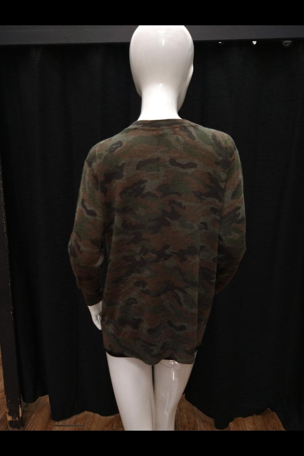Olivaceous Camouflage Sweater Top - Side Cropped Image