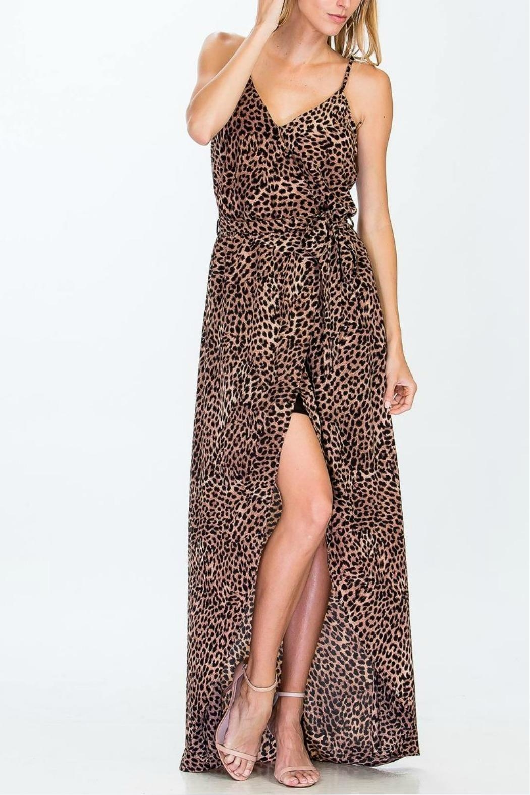 Olivaceous Cheetah Maxi Dress - Front Cropped Image