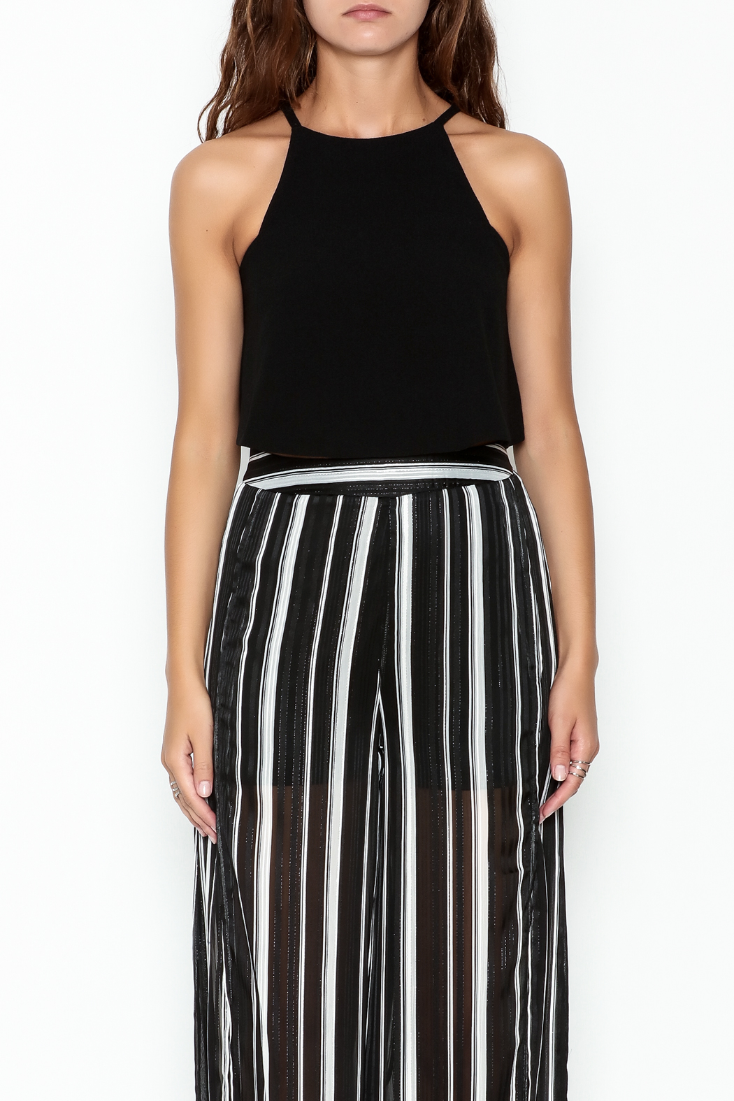 Olivaceous Crepe Swing Crop Top - Front Full Image