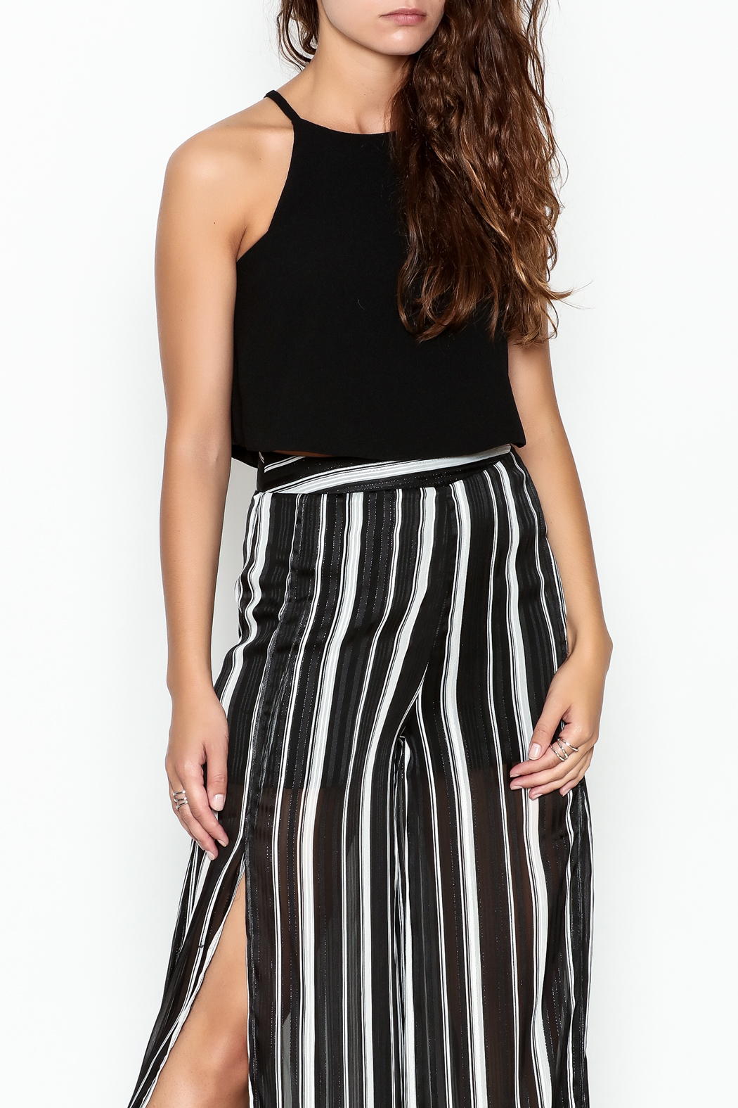 Olivaceous Crepe Swing Crop Top - Main Image