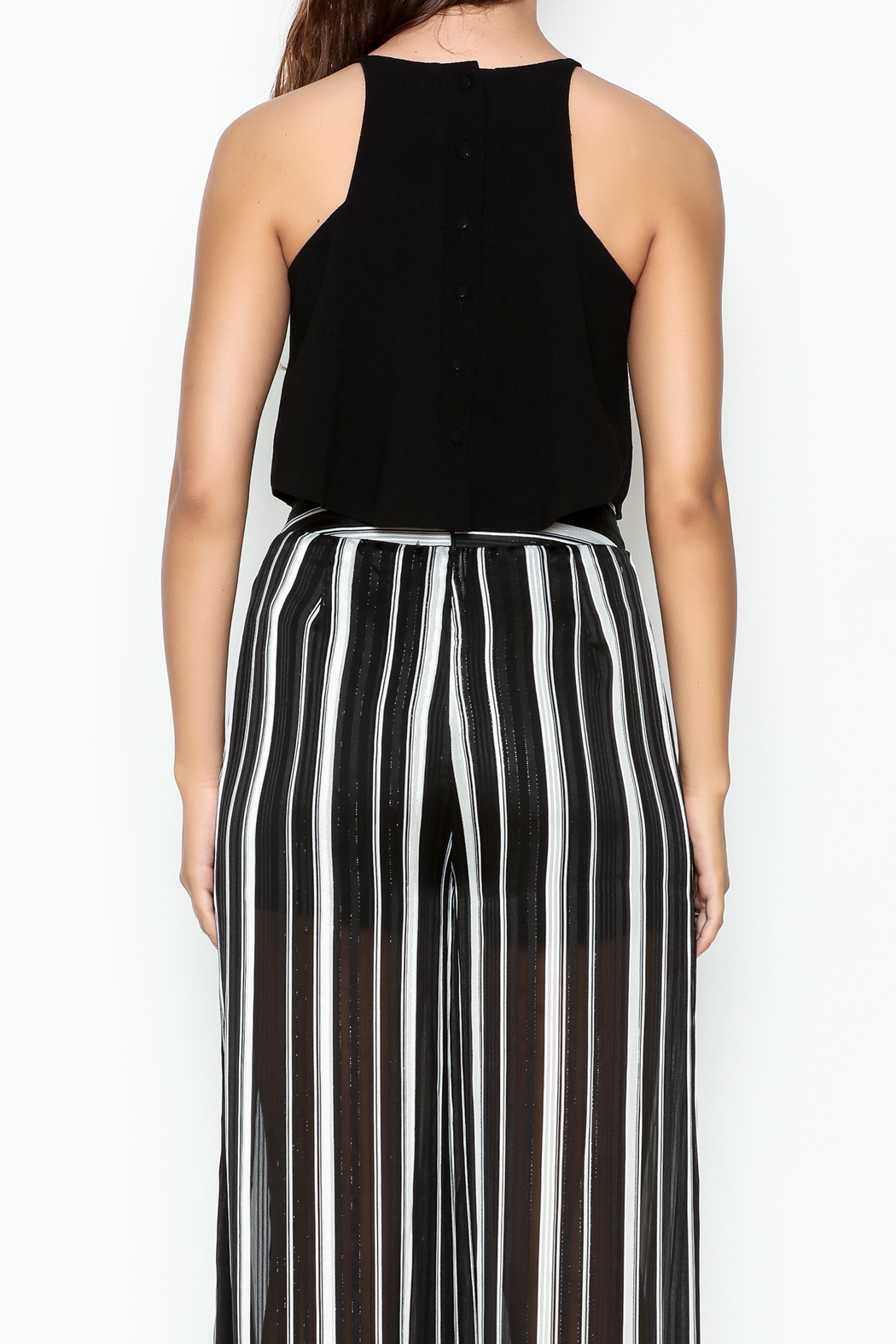 Olivaceous Crepe Swing Crop Top - Back Cropped Image