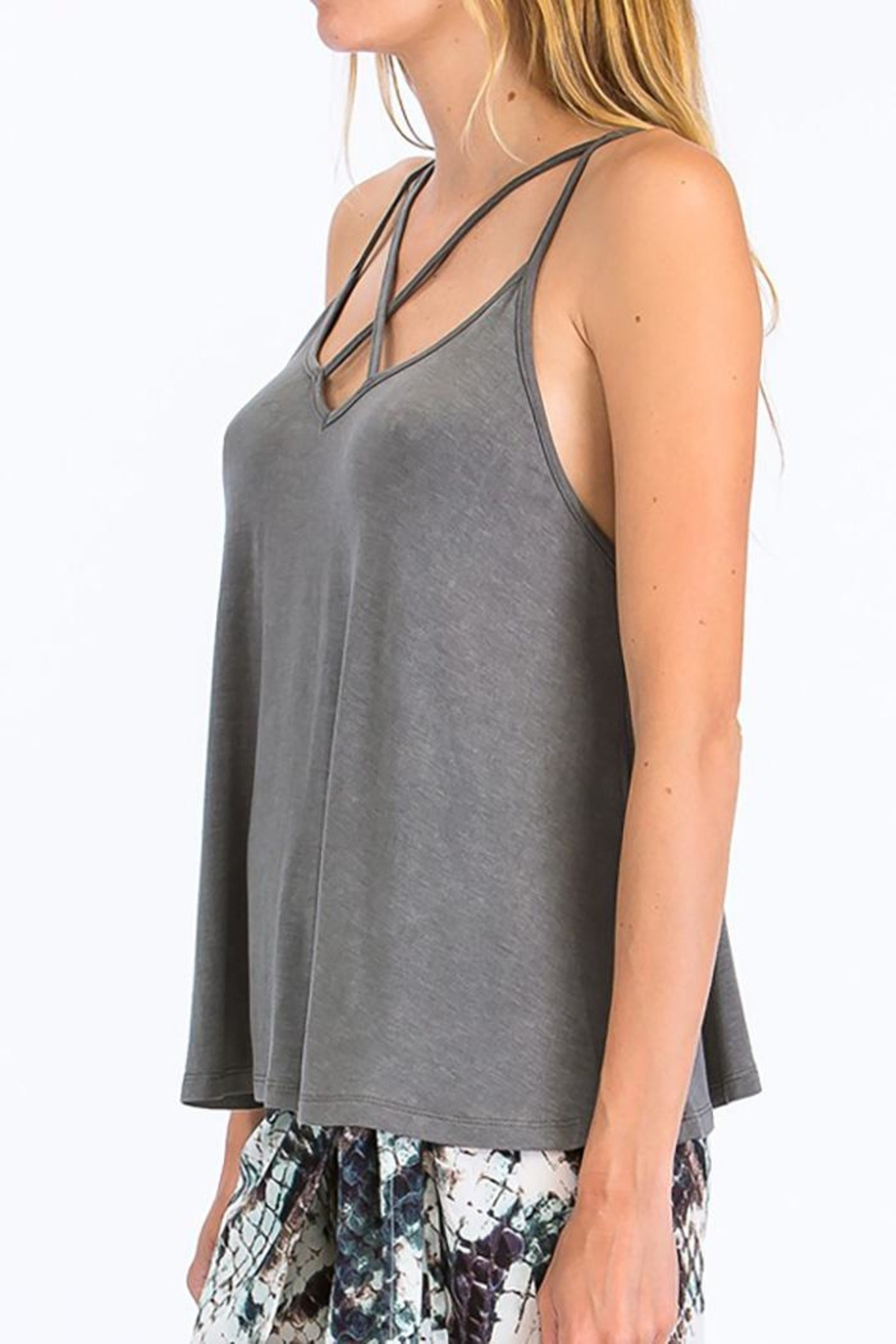 Olivaceous Criss-Cross Strappy Tank - Front Full Image