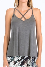 Olivaceous Criss-Cross Strappy Tank - Front cropped
