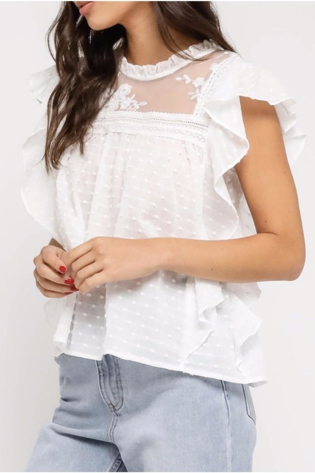 Olivaceous Crochet Boho Top - Main Image