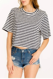 Olivaceous Cropped Striped Tee - Product Mini Image