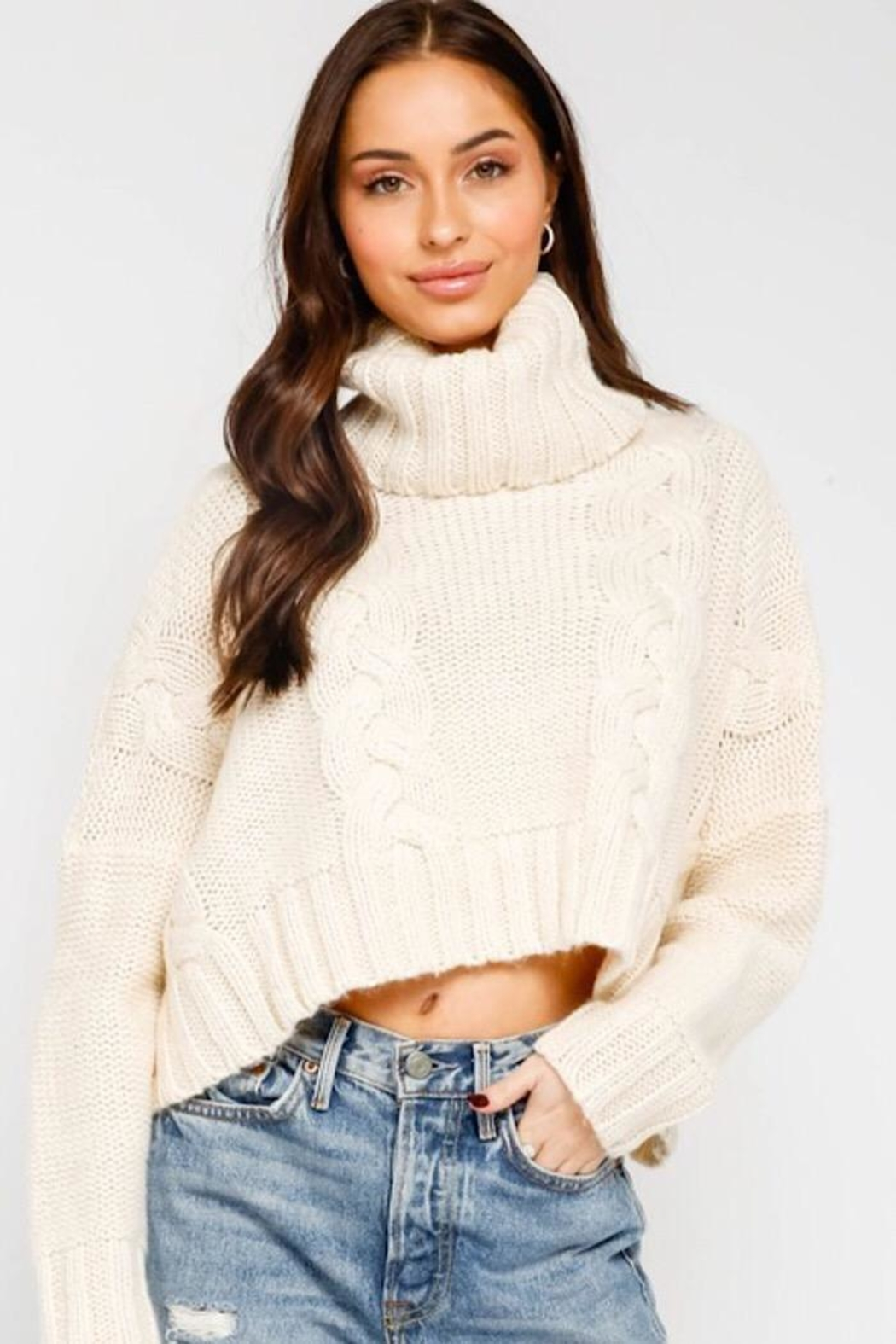 Olivaceous Cropped Turtleneck Sweater - Main Image
