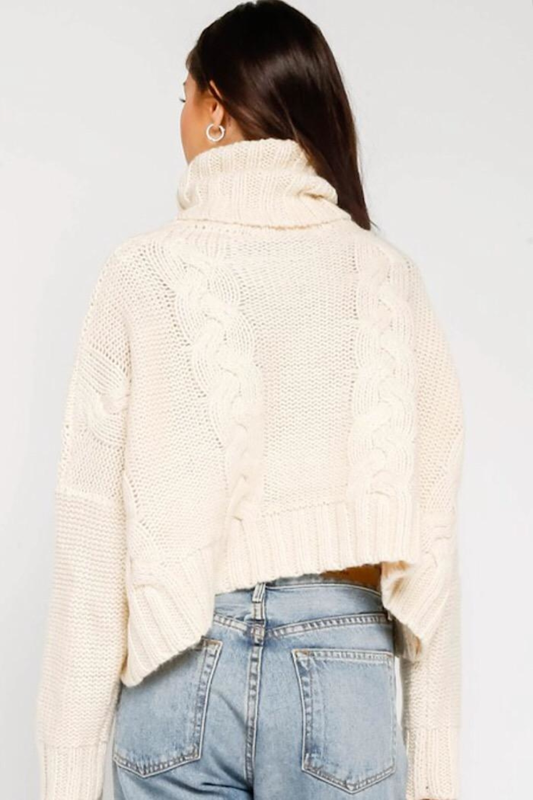 Olivaceous Cropped Turtleneck Sweater - Side Cropped Image