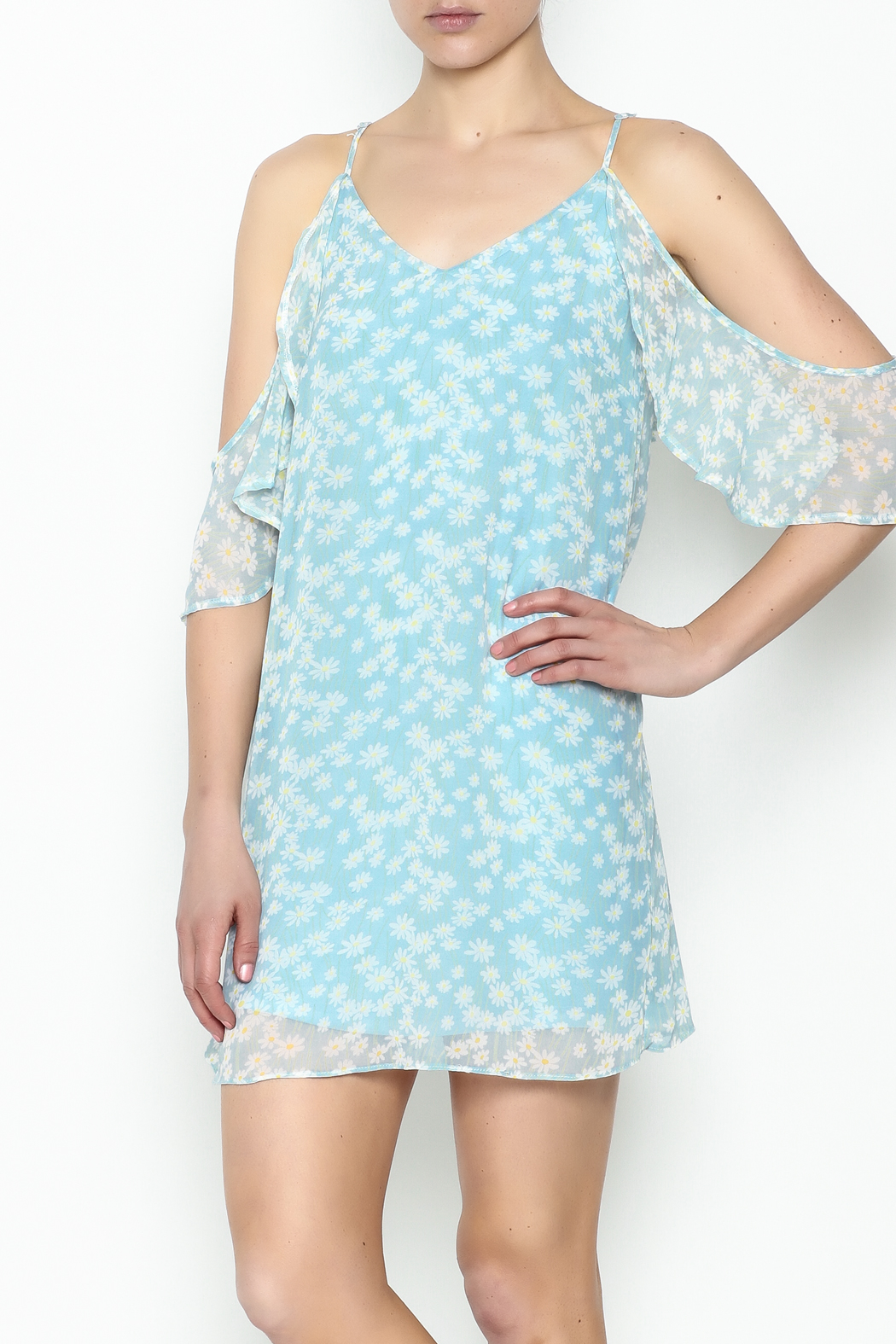 Olivaceous Daisy Off Shoulder Dress - Main Image