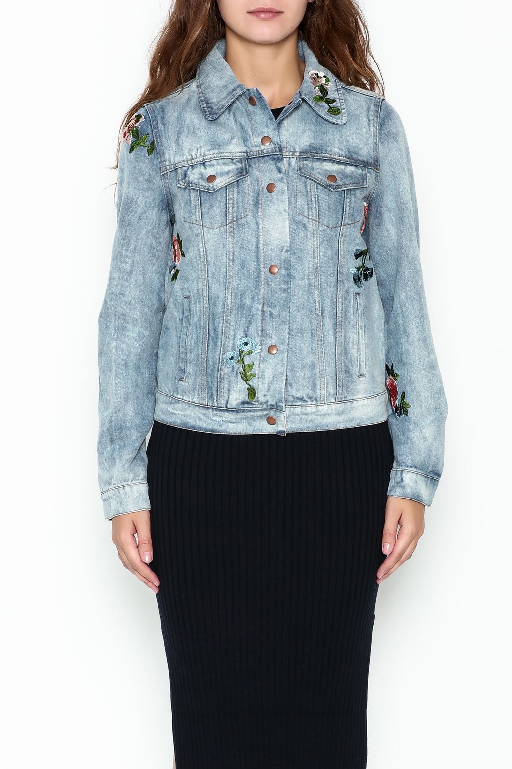 Olivaceous Denim Floral Jacket - Front Full Image