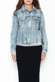 Olivaceous Denim Floral Jacket - Front full body