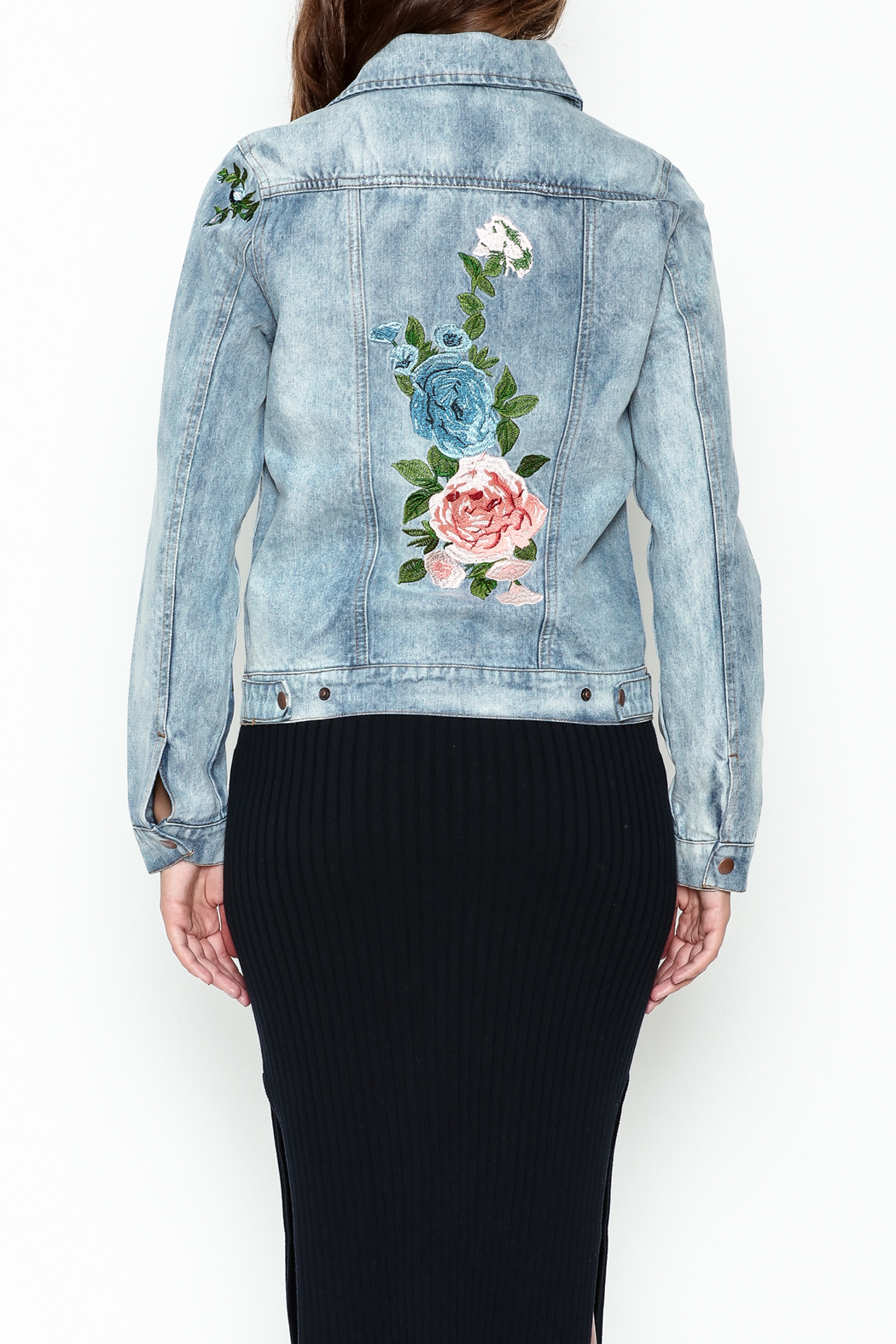 Olivaceous Denim Floral Jacket - Main Image