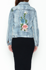 Olivaceous Denim Floral Jacket - Back cropped