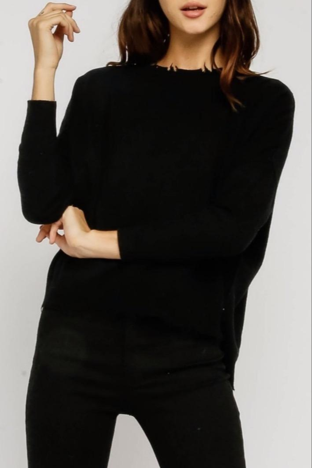 Olivaceous Distressed Black Sweater - Main Image