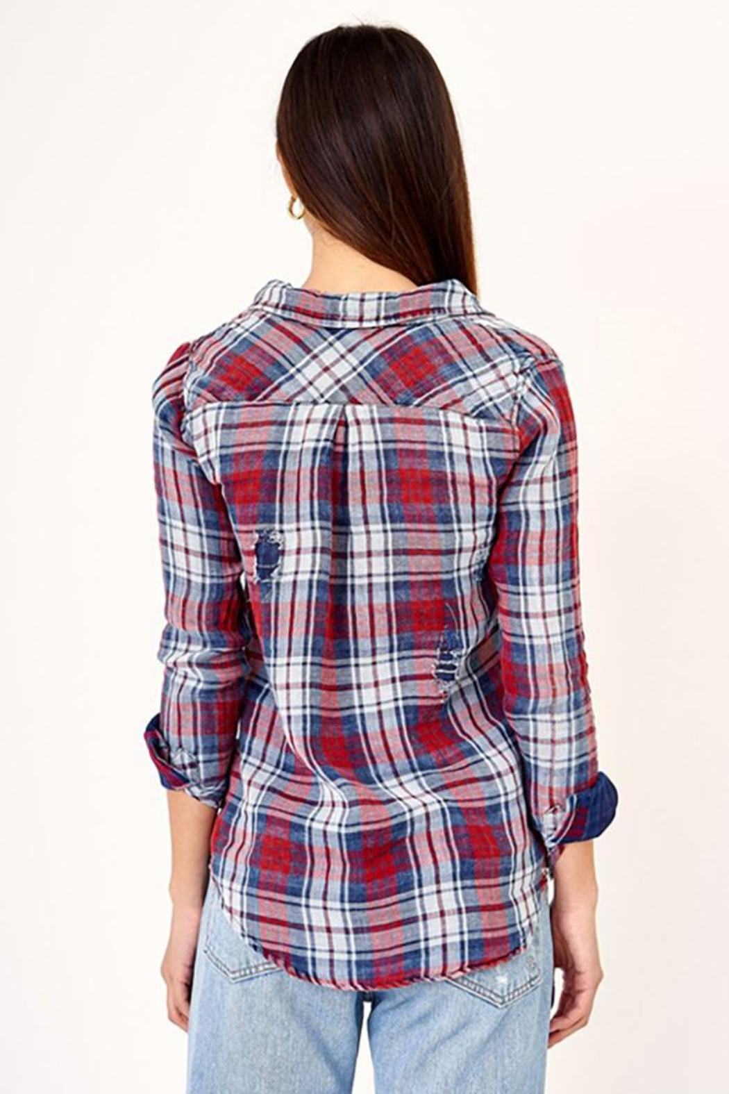 Olivaceous Distressed Button Down Plaid Shirt - Front Full Image