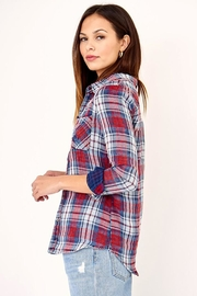 Olivaceous Distressed Button Down Plaid Shirt - Side cropped
