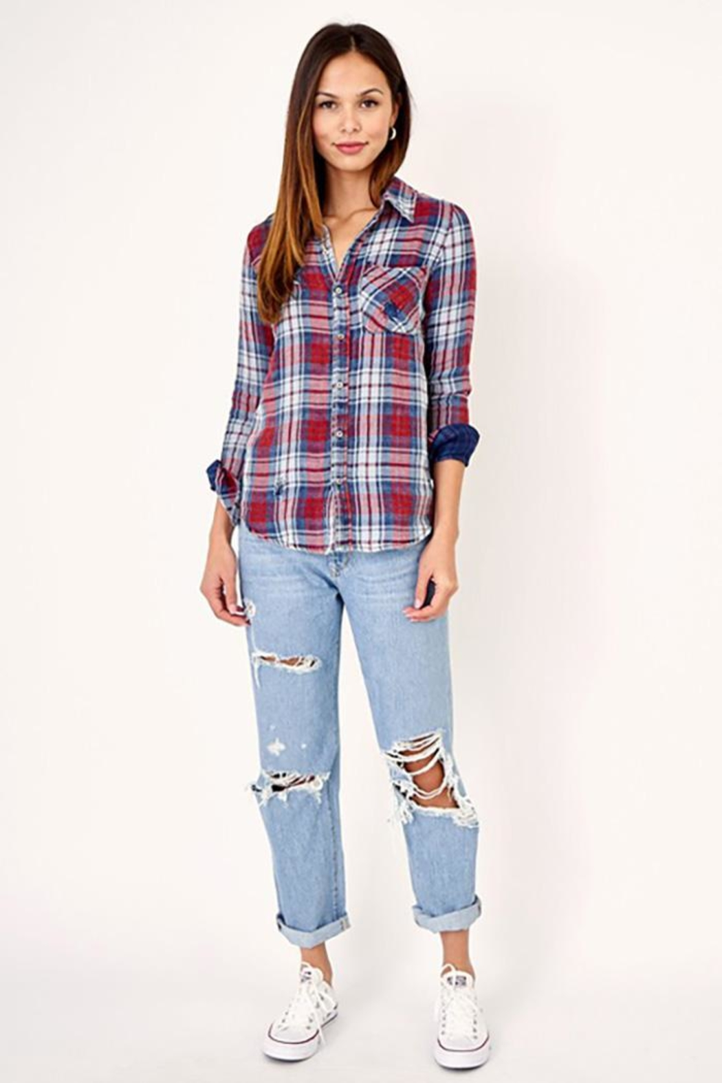 Olivaceous Distressed Button Down Plaid Shirt - Back Cropped Image
