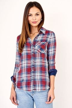 Olivaceous Distressed Button Down Plaid Shirt - Product List Image