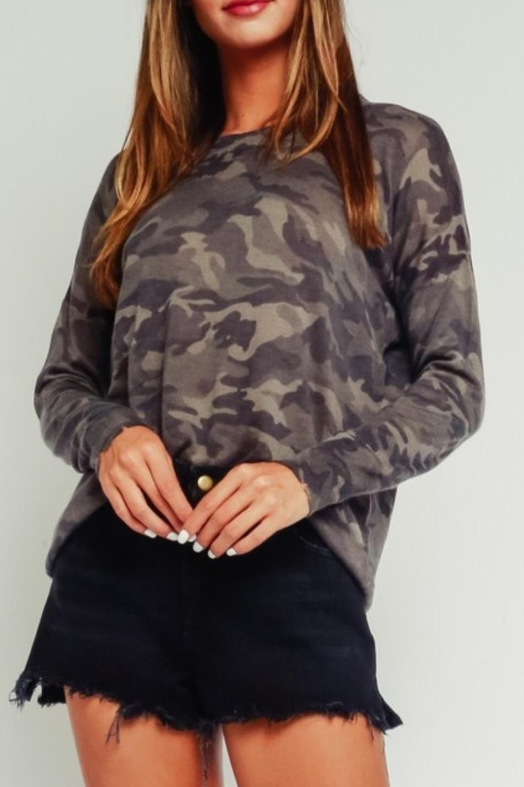 Olivaceous Distressed Camouflage Sweater - Main Image