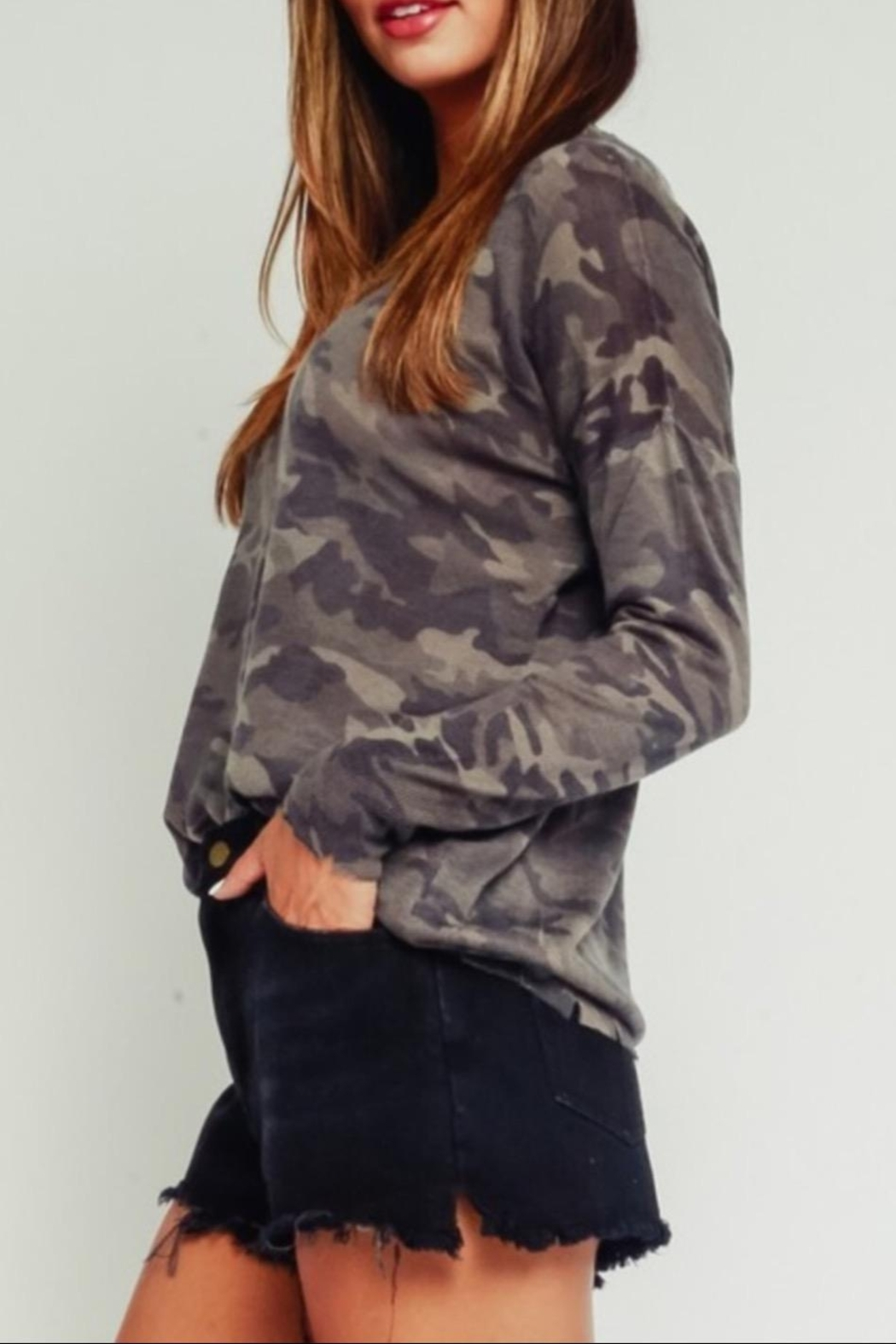 Olivaceous Distressed Camouflage Sweater - Front Full Image