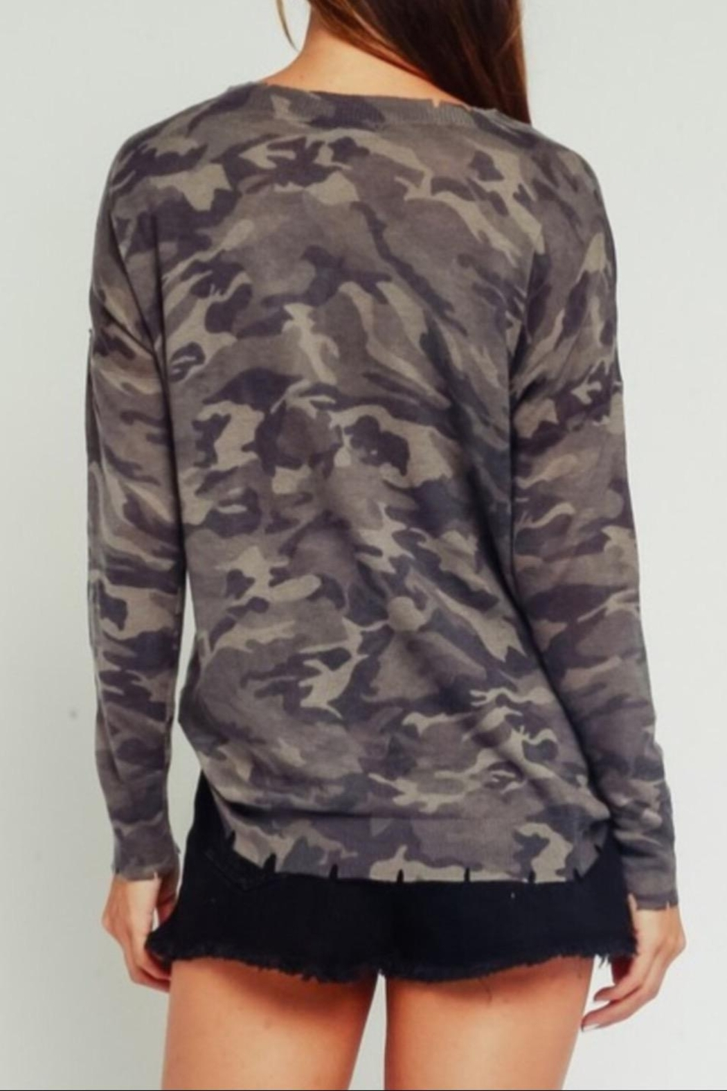 Olivaceous Distressed Camouflage Sweater - Side Cropped Image