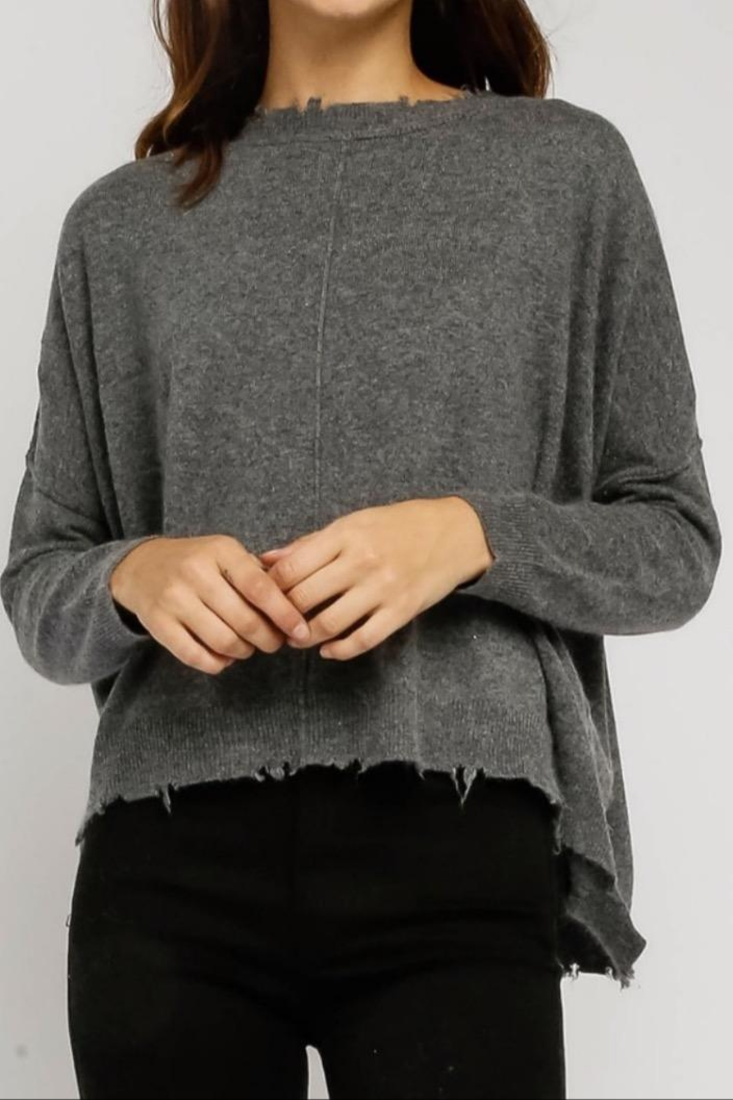 Olivaceous Distressed Charcoal Sweater - Main Image