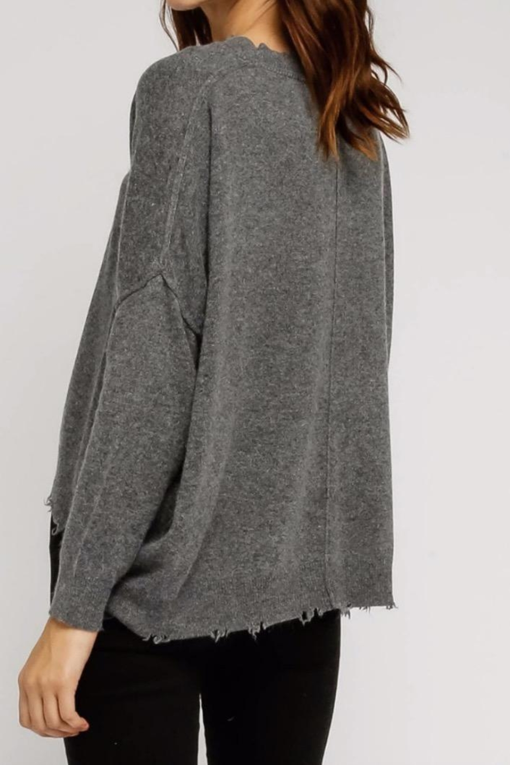 Olivaceous Distressed Charcoal Sweater - Front Full Image