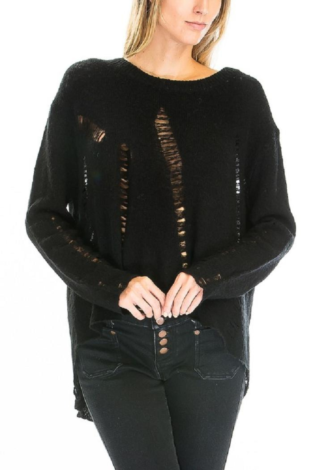 Olivaceous Distressed Hilo Sweater - Side Cropped Image