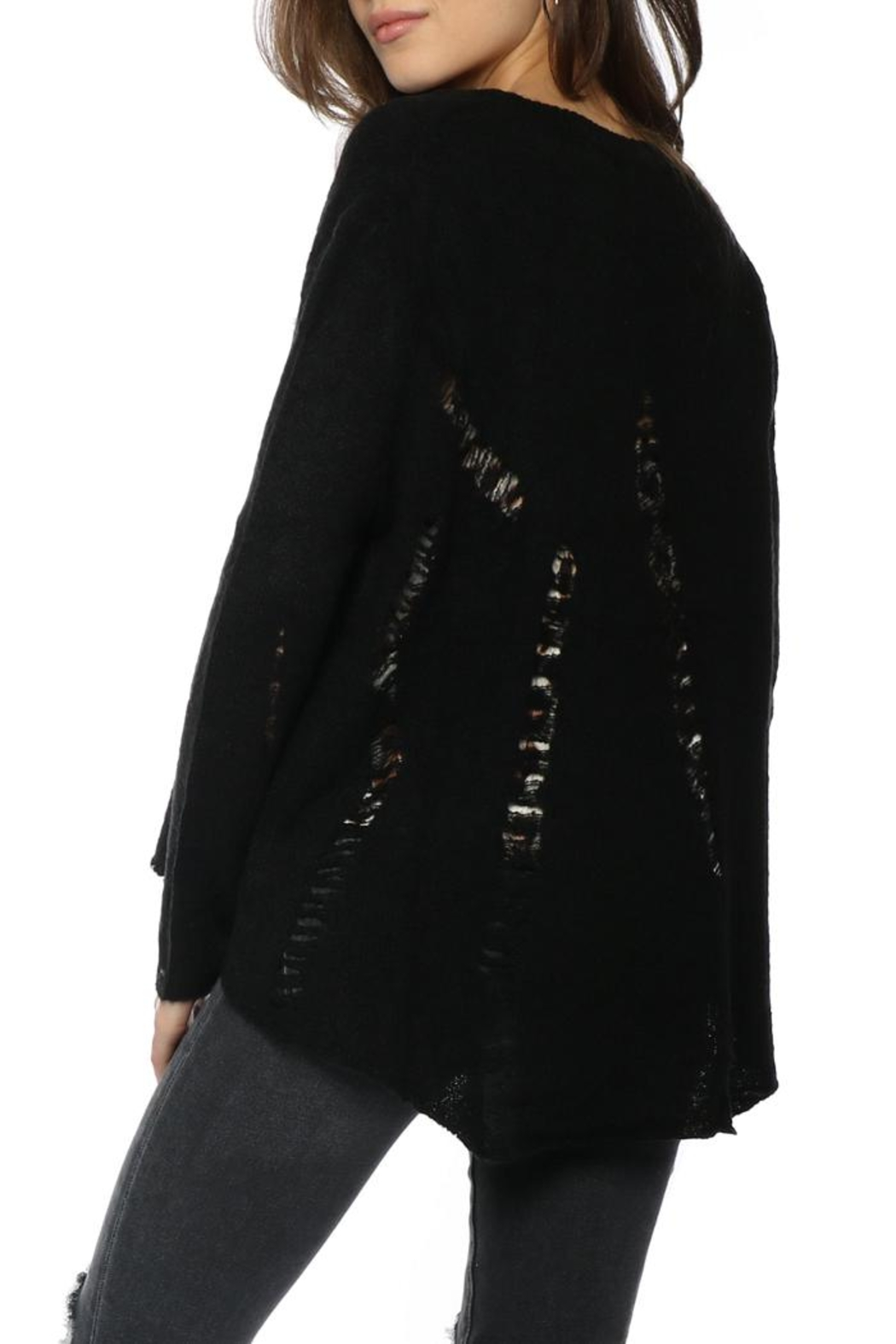 Olivaceous Distressed Hilo Sweater - Front Full Image