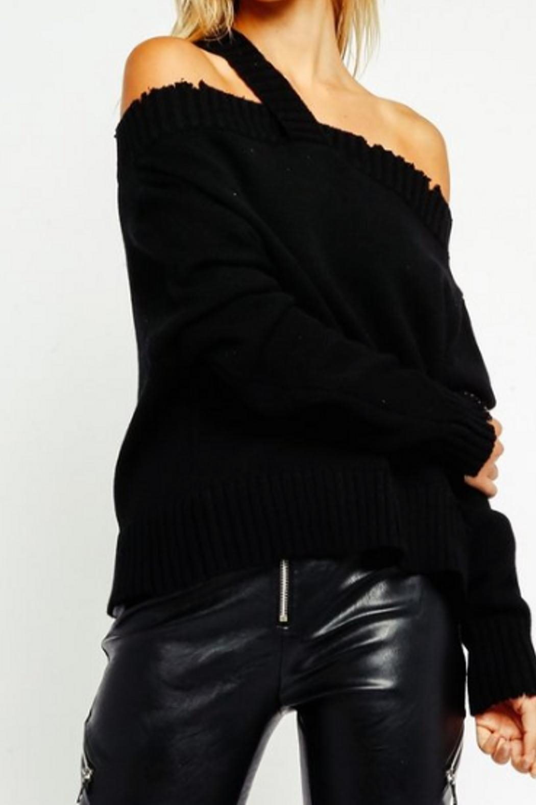 Olivaceous Distressed Offshoulder Sweater - Main Image