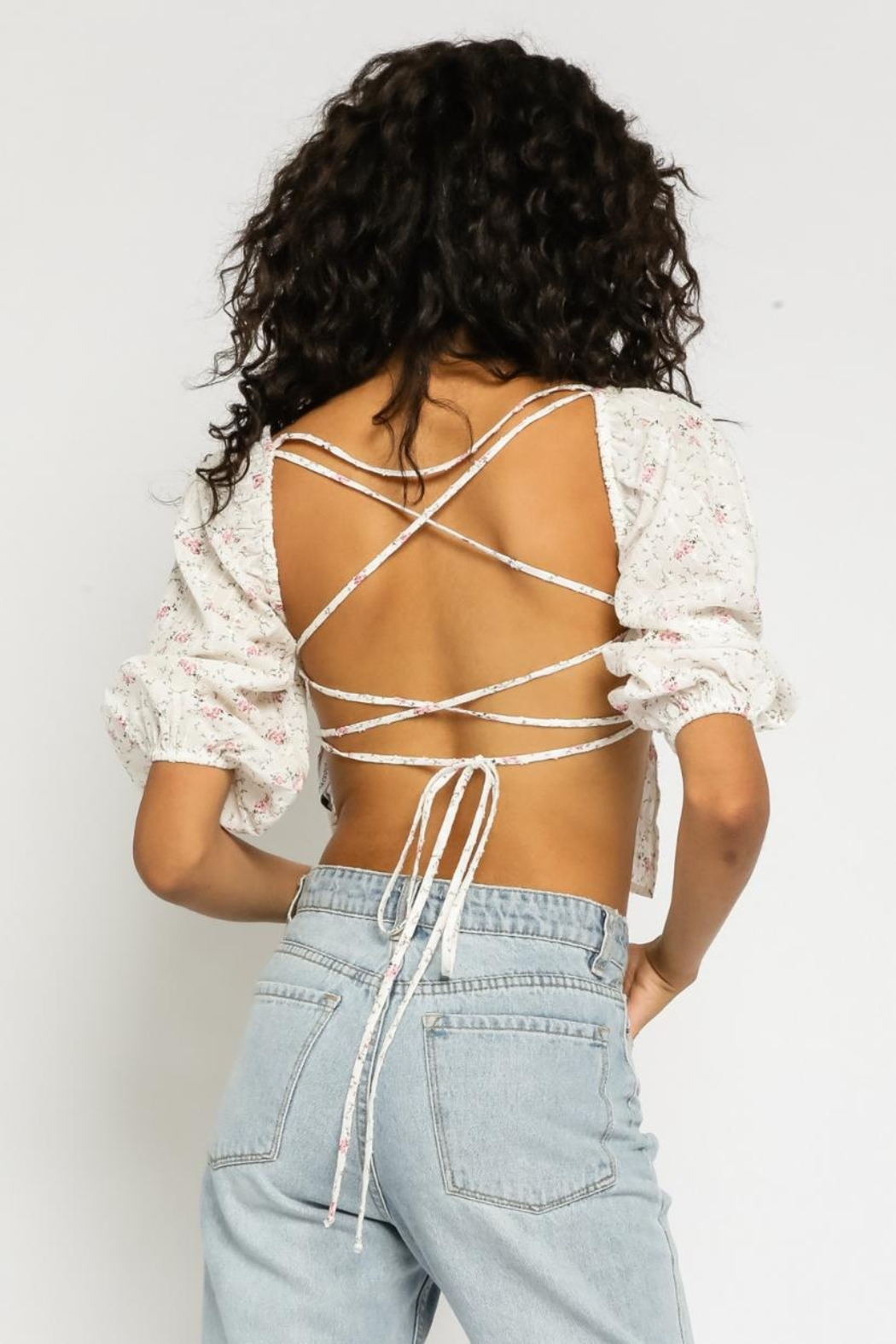 Olivaceous Ditsy Floral Top - Back Cropped Image