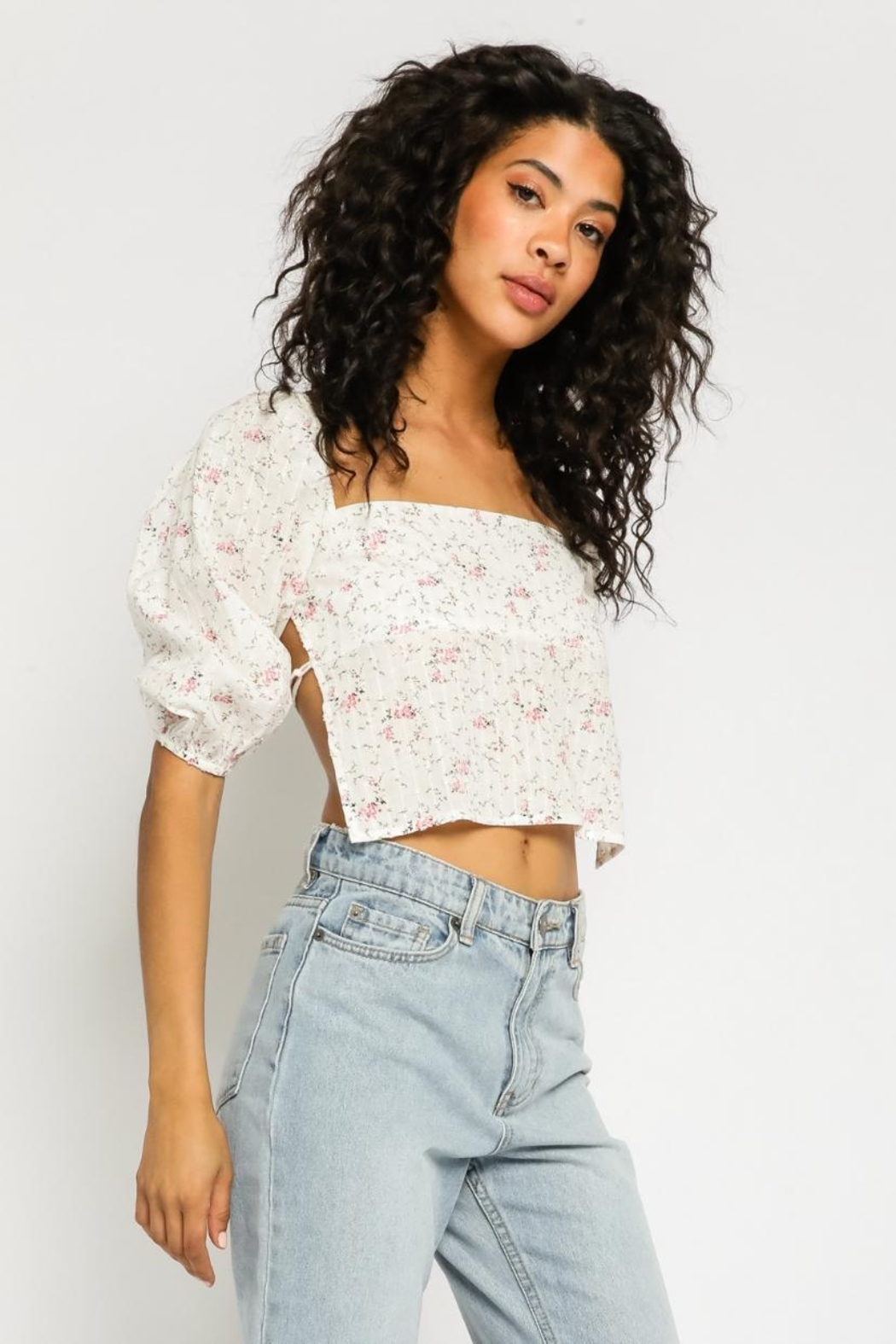 Olivaceous Ditsy Floral Top - Side Cropped Image