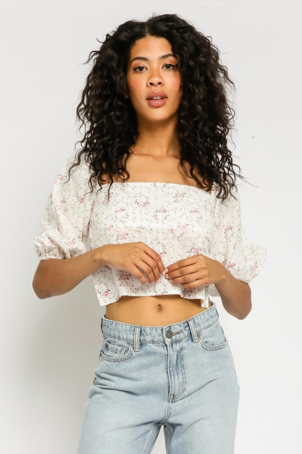 Olivaceous Ditsy Floral Top - Main Image
