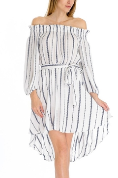 Shoptiques Product: Embroidered Striped Off-Shoulder