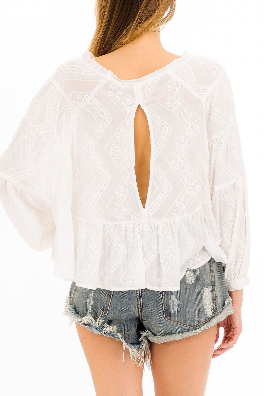 Olivaceous Embroidered White Top - Front Cropped Image