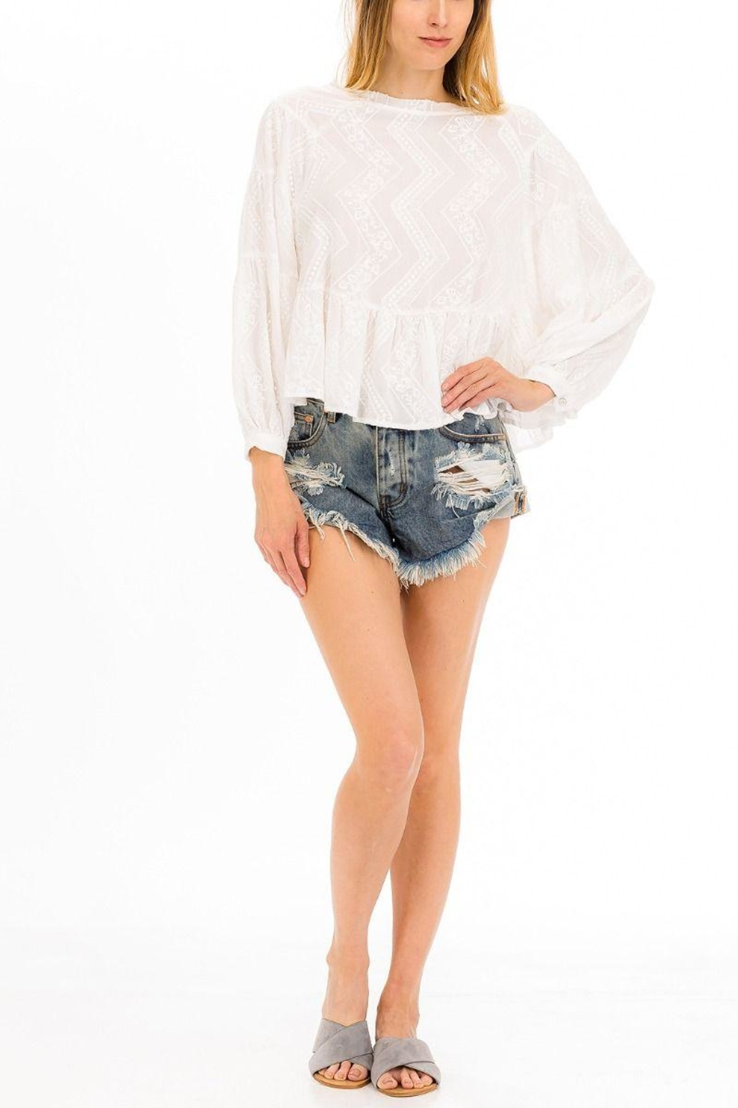 Olivaceous Embroidered White Top - Main Image