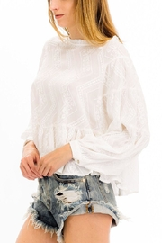 Olivaceous Embroidered White Top - Other