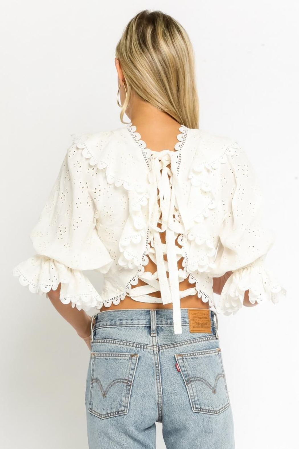 Olivaceous Eyelet Ruffled Top - Side Cropped Image