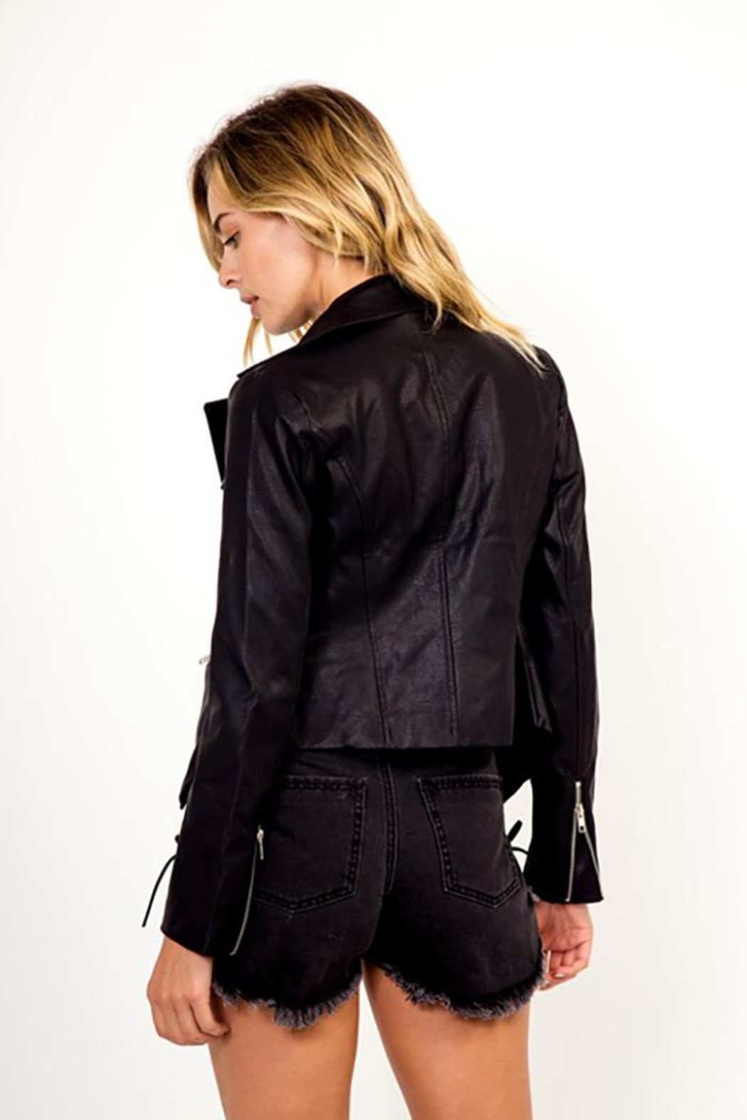 Olivaceous Faux Leather Military Jacket - Front Full Image