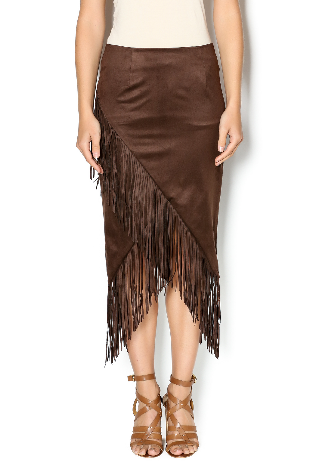 Olivaceous Faux Suede Fringe Skirt From North Shore By