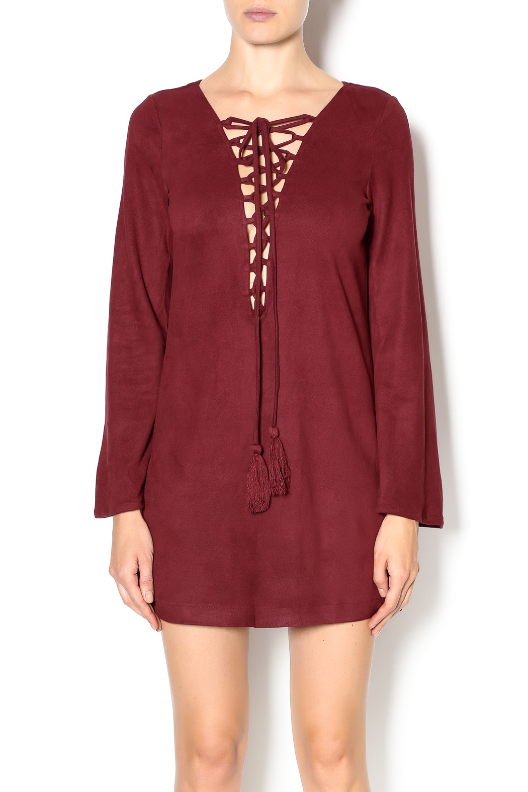 Olivaceous Faux Suede Lace-Up Dress - Main Image